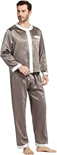 LILYSILK Men's 100% Silk Pyjama Set Long Round Collar Mandarin Full Length 22 Momme Pure Mulberry Silk
