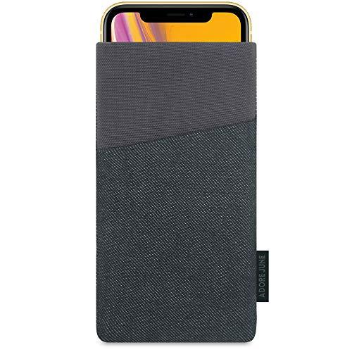 Adore June Tasche Clive für Apple iPhone XR, Handyhülle mit Extrafach & Bildschirm-Reinigungseffekt, Schwarz/Grau