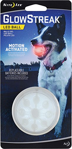 Nite Ize GlowStreak LED Dog Ball, Bounce-Activated Light Up Dog Ball, Replaceable Batteries, Red LED