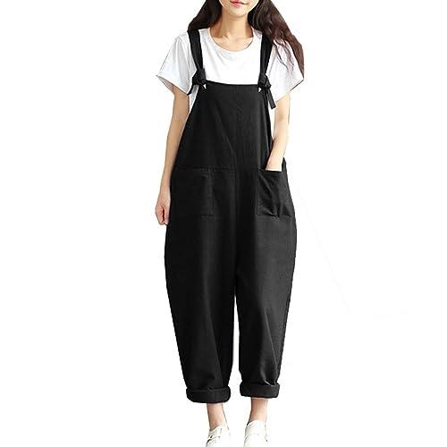 9b4c7dc9996 Hotmiss Women Plus Size Baggy Linen Overalls Wide Leg Pants Sleeveless Rompers  Jumpsuit Waist Haren Pants