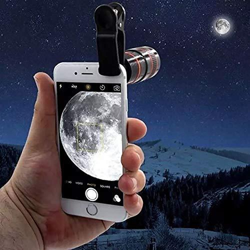TORENG Telescopio monocular para smartphone 12x portátil y astronomía con clip rápido para smartphone telescopio zoom lente monocular cámara de teléfono móvil para acampar caza deporte