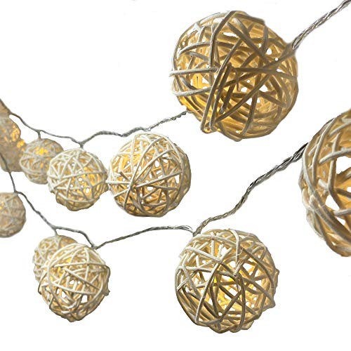 BLAZE ON Hand-Woven Rattan Wicker Ball Fairy Lights (Natural Cream) - 20 LED Lights - UK Plug - Safe - Indoor - Low Voltage - Decorative Lights - DC 31V
