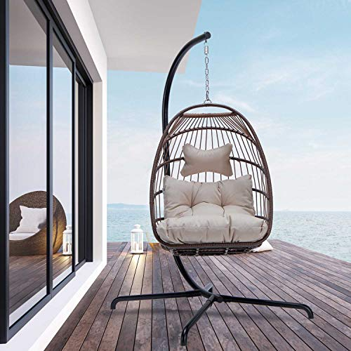 Swing Egg Chair with Stand Indoor Outdoor Wicker Rattan Patio Basket Hanging Chair with UV Resistant Cushions Aluminum Frame 350lbs Capaticy for Bedroom Balcony Patio (Brown)