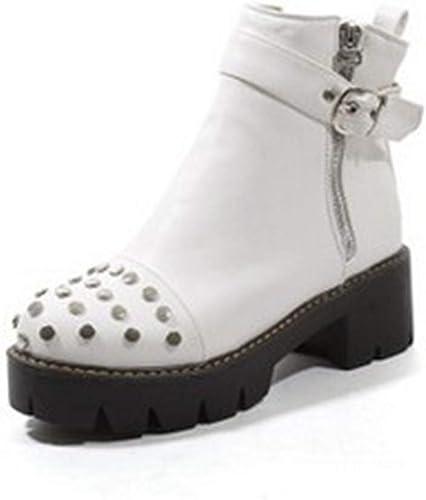 SIKESONG Remache De mujeres De Moda mujer botas botas De Locomotora De Cremallera Lateral Martin botas