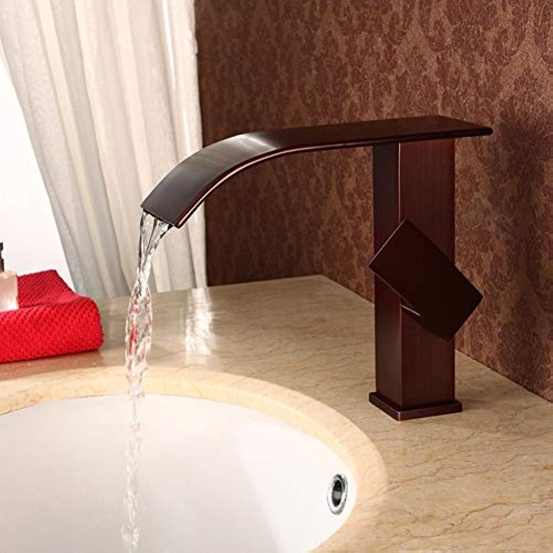 Wasserhahn Wasserfall Waschtischarmatur Bad l Bronze Rot Einhebel Mischbatterie Waschbecken Armatur für Badezimmer,rotBronzeFaucet