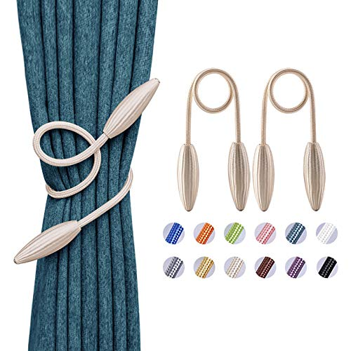 NICEEC 2 Pack DIY Twist Curtain Tiebacks Creative Decorative Crystal Drape Tie Backs European Style Random Modelling Curtain Holdbacks for Home & Office Window Blackout & Sheer Drapery (Creamy White)
