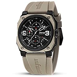 INFANTRY Mens 100M Waterproof Aviator Pilot Watch Chronograph Date Military Tactical Rubber Band