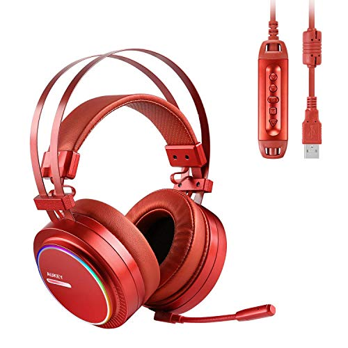 AUKEY Gaming Headset PC USB Stereo Headphone with Virtual 7.1 Surround Sound, Noise Canceling Mic, Memory Foam Earpads, RGB Rainbow Ring Lights, Volume Control for PC, PS4 (Red)