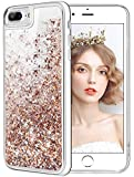 wlooo Cover per iPhone 8 Plus, Cover iPhone 7 Plus, Glitter Liquido Custodia Luccichio Pendenza TPU Silicone Protettivo Morbido Brillantini Quicksand Case per iPhone 6 Plus/7 Plus (Oro Argento)