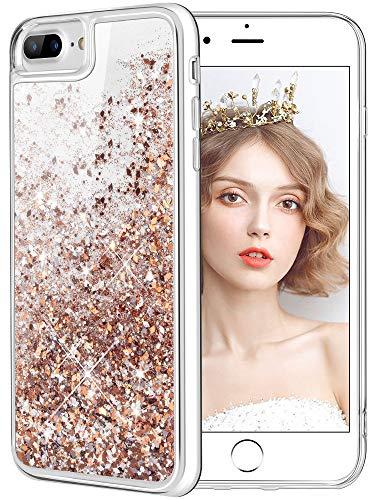 wlooo iPhone 8 Plus hülle Glitzer, handyhülle iPhone 6 Plus, Flüssig Treibsand Glitter Gradient Quicksand Weich TPU Bumper Silikon Schutzhülle für iPhone 6 Plus/6s Plus/7 Plus/8 Plus (Gold Silber)
