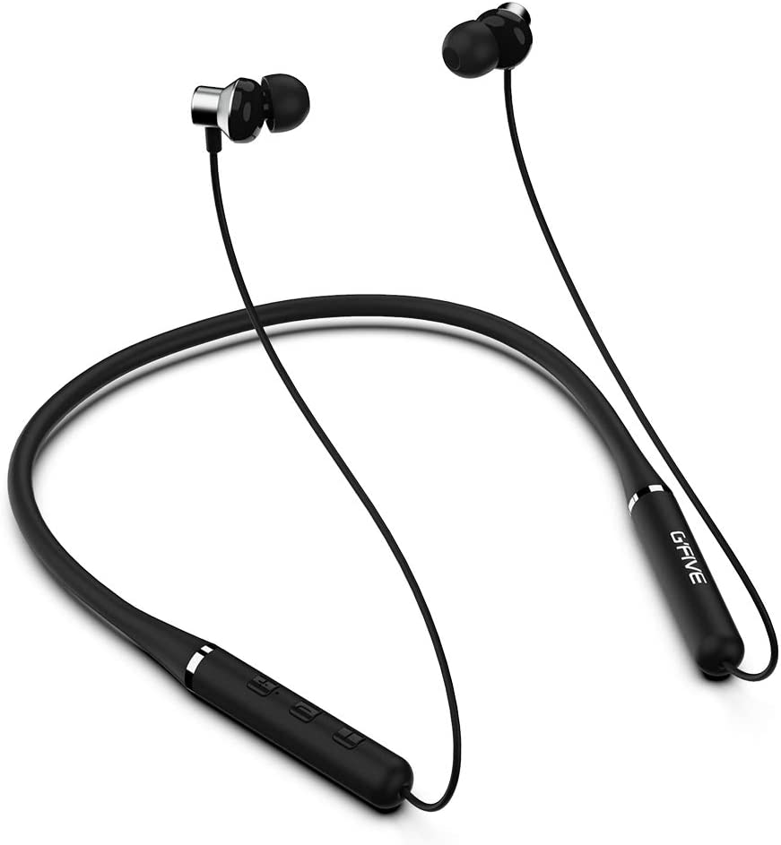 Bluetooth 5.0 Neckband Headphone with MIC and 2 Dia. 10mm Speakers, Stereo Sound, IPX4 Water-Resistant for Work and Sport GFIVE