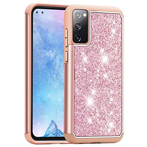 J&D Compatibile per Samsung Galaxy S20 Fan Edition/Samsung Galaxy S20 Fe Cover, Luccicante Sottile Protezione Robusta Protettiva Custodia per Galaxy S20 Fan Edition, Galaxy S20 Fe, Rosa Oro
