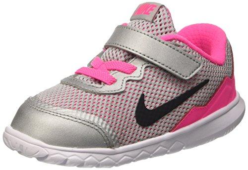 Nike Mädchen Flex Experience 4 (TDV) Wanderschuhe für Babys, Multicolore (Mtllc Silver/Blck-Wht-Pnk Pw), 27 EU