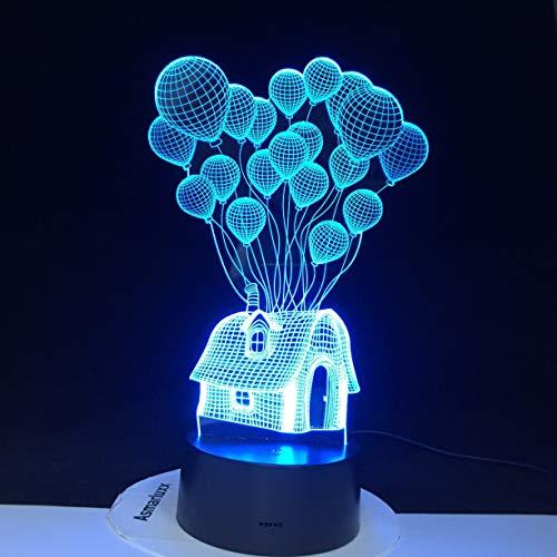 Solo 1 pieza Balloon House 3D Led Noche Luz Forma Ambiente Visualmente Festival Decoración Lámparas de la lámpara Acrílico Multicolor Para la decoración del hogar
