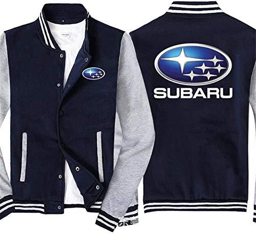 Unisex Sweatshirt, Männer Pullover Baseball Uniform-Jacke for Subaru Printed Sweatshirt - Stitching Langarm-Zip Trainingsjacken Mantel - Teen Gift Blau Grau-S (Color : Blue Gray, Size : Large)
