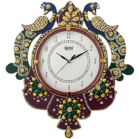 Circadian Ajanta Wooden Handpainted Desginer Wall Clock for Home   Living Room   Office   Bedroom Multicolour