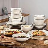 Vancasso Tafelservice Steingut, BONBON 24 teiliges Geschirrset, handbemaltes Kombiservice für 6 Personen, Vintage Aussehen - 4