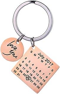 Mihqy Personalizzato inciso Personalizzato Calendario Data Portachiavi in Acciaio Inossidabile e Portachiavi memoriale ric...