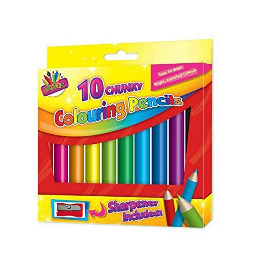 10 x Kid's Chunky Colouring Pencils School Art & Craft Bright Colour &...