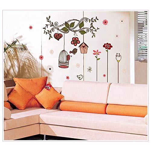 Blumen VineCageWandaufkleberTV HintergrundRaumdekorationen Diy Home Decals Abnehmbare WandbildZprint Poster