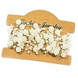 Mattierte Perlenkette Perlenband Perlengirlande Perlenschnur Weihnachten Advent Hochzeit Deko Tischdeko - 7