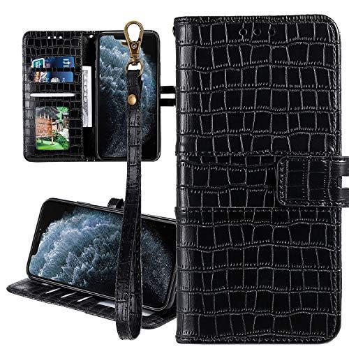 Nadoli Ledertasche für Samsung Galaxy A50,Krokodil Muster Luxus Männer Frauen Pu Standfunktion Flip Handy Schutzhülle Brieftasche mit Kartenhalter und Handschlaufe,Schwarz