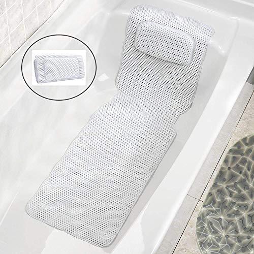 JinSu Ganzkörper Badewannenmatte mit Kissen, 3D Air Mesh Spa Badewannenkissen Matratze, Gestepptes Luft-Badbett mit Rutschfesten Saugnäpfen, Bad-Zubehör (125 * 36CM)