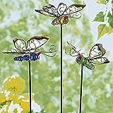 TRI Leuchtstecker 'Schmetterlinge', 3 Stück, Gartendekoration, Sommerdekoration, fluoreszierende Stecker, Metall, Kunststein, 14 x 12 cm, Stabhöhe 50 cm