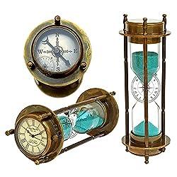 Hanzla Collection Marine Antique Brass Compass Hourglass Nautical Maritime Sand Timer & Desk Clock