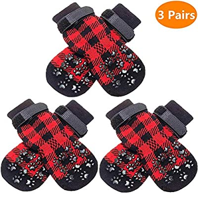 SCENEREAL Dog Socks Anti Slip with Straps Traction Control 3 Pairs Set - Plaid Paw Protector for Floor Indoor, Non-Skid Design for Small Medium Dogs Cats Puppy