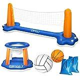 QPAU Juego de Flotador Inflable para Piscina, Juego de Voleibol Inflable con Red Ajustable, Aro Flotante de Baloncesto con 2 Pelotas, Juego de Flotador para Piscina para Adultos y Niños