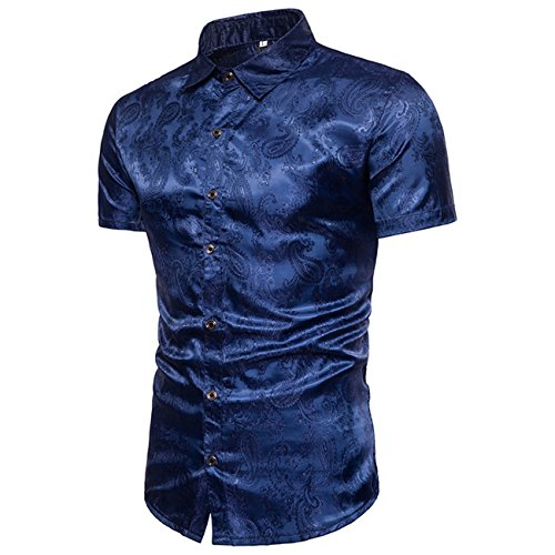 Herren Dark Grain Dekoration Nachtclub Freizeit Kurzarmhemd Shirt Shirt(XXL,Dunkelblau)