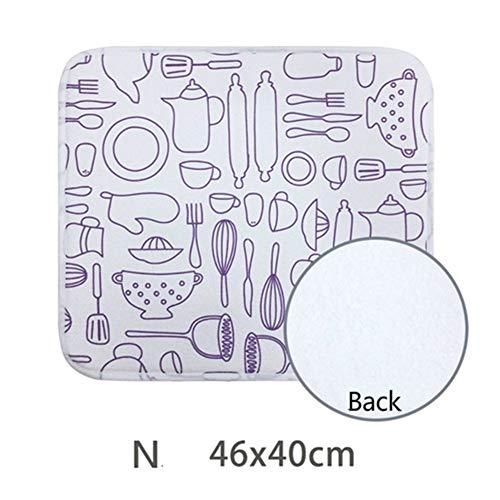 Vaisselle Séchage Tapis haute Absorbent Arts de la table Coussin Drainante épais coussin Microfibre Mat Table de cuisine Tapis 46 * 40cm (Color : Paragraph N, Shape Style : Rectangular)