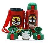 IGZOM Vakuum Thermosflasche,Doppelwandig Edelstahl Wasserflasche,Isolierflasche für Kinder,Familie 600ml Roter