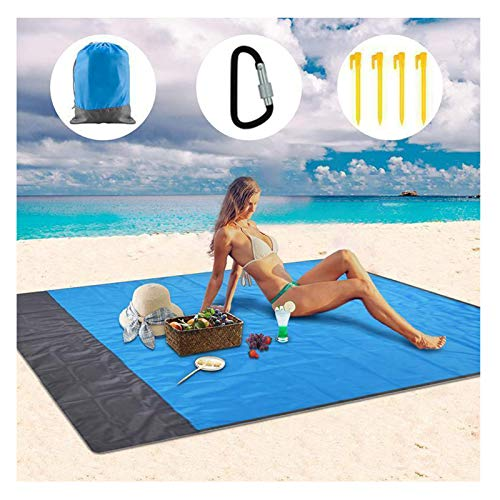 KKJP Folding Pocket Picnic Mat, Portable Anti-Sand Beach Blanket, Waterproof Sandproof Foldable Beach Blanket-for Park, Beach and Picnic (B)