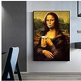 Große Größe Parodie Spaß Mona Lisa trinken Bier