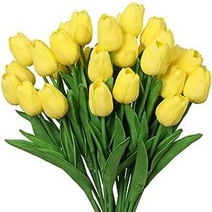 Silk Flower Arrangements Nubry 30pcs Artificial Tulip Flowers Fake Real Touch Tulips Flower Bouquet for Wedding Arrangements Centerpieces Home Decoration (Yellow)