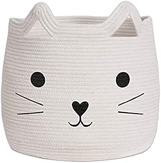 Living Large Woven Animal Cotton Rope Storage Basket Laundry Basket Organizer for Towels Blanket Toys Clothes Pet Hamper f...