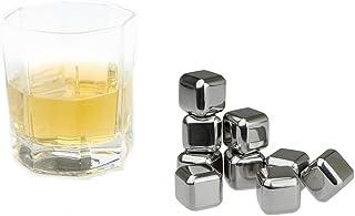 KOBERT GOODS - 4 Whisky-Steine in Farbe Edelstahl Eckig - wiederverwendbare Kühlsteine aus echtem Speckstein od. gebürstetem Edelstahl - Eiswürfelersatz eckig/ oval für perfekte Kühlung ohne Verwässerung - mit Stoffbeutel