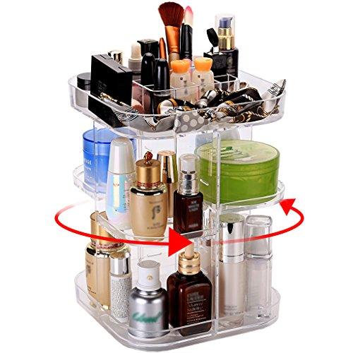 Rangement Maquillage en Carré, Tournant à 360°, Etagères Ajustables Large Capacité pour Tous Types d'Accessoires Cosmétiques