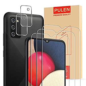 PULEN Screen Protector and Camera Protector for Samsung Galaxy A02S, Tempered Glass Film, 3+2 Packs