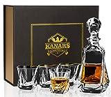 KANARS Jarra y Vasos de Whisky, 650 ml Decantador de Whisky Cristal Sin Plomo con 4 Copas 210 ml, Exquisita Caja de Regalo, 5 Piezas