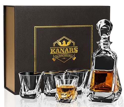 KANARS Bicchieri e Bottiglie whisky, Decanter da Whiskey Cristallo, 650 ml Bottiglia con 4x 210 ml Bicchieri, Bellissimo Regalo, 5 Pezzi