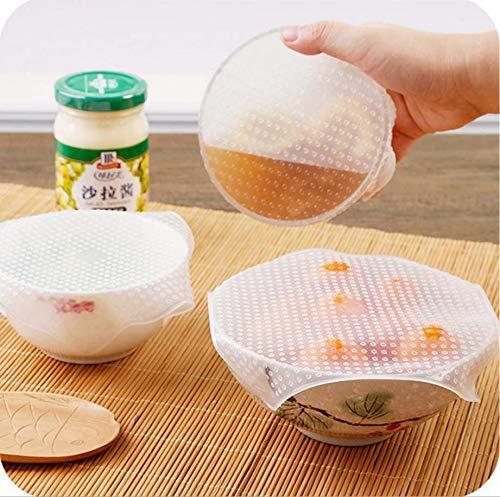 VPlus - Juego de 3 fundas de silicona para sellado de alimentos frescos y calientaplatos de microondas, 3 tamaños