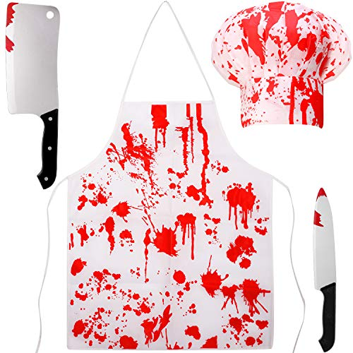 4 Pieces Halloween Bloody Butcher Costumes Scary Set - Cooking Chef Apron Hat Weapon Knife (Red,White)