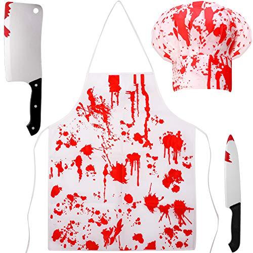 4 Piezas Disfraces de Carnicero Sangriento de Halloween Set de Miedo - Delantal de Cocina Chef Sombrero Cuchillo de Arma (Rojo, Blanco)