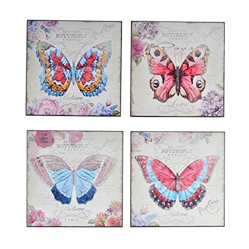 Dcasa - Pack 4 Cuadro Mariposa provenzal decoración France