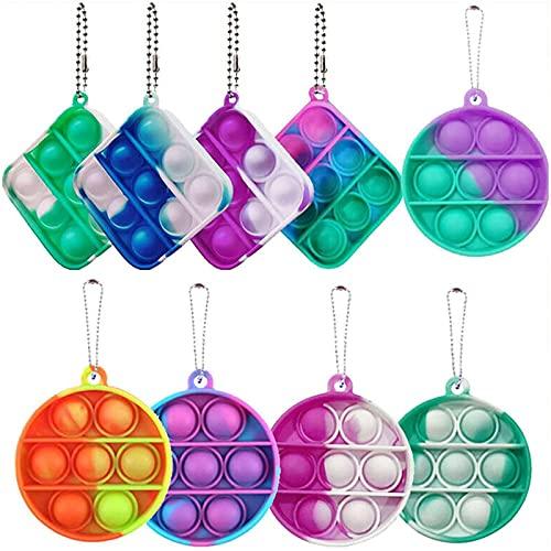 9/12 PCS Mini Push Pop Bubble Fidget Sensory Toys, Sensory Fidget Toys Mini Stress Relief Hand Toys Keychain,Simple Dimple Fidget Pack,Pop Anxiety Stress Reliever Gift for Adult Kids (9 Pcs)