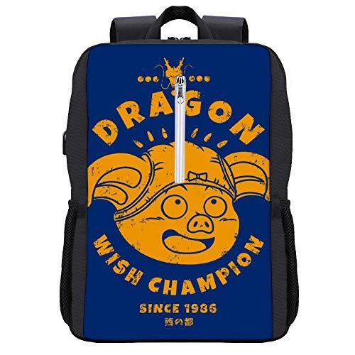 Dragonball Z Dragon Wish Champion Rucksack Daypack Bookbag Laptop Schultasche mit USB-Ladeanschluss