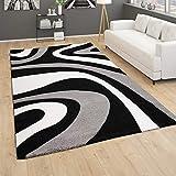 Alfombra Salón Pelo Corto Diseño De Ondas Moderno Abstracto con Efecto 3D Negro, tamaño:160x230 cm